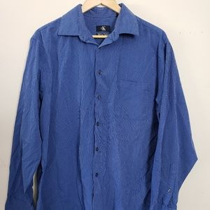 CALVIN KLEIN MEN'S DRESS SHIRT BLUE COLLARED